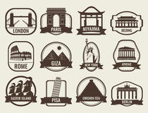 World landmarks flat icon set. Travel and Tourism. Vector Stock Photo