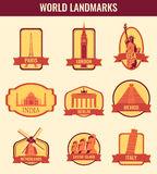 World landmarks flat icon set. Travel and Tourism. Vector Stock Photos