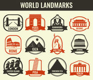 World landmarks flat icon set. Travel and Tourism. Vector Stock Image