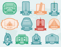 World landmarks flat icon set. Travel and Tourism. Vector Royalty Free Stock Photos