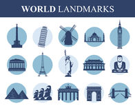 World landmarks flat icon set. Travel and Tourism. Vector Stock Photo