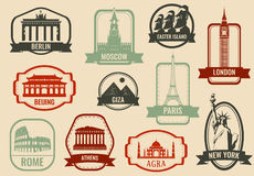 World landmarks flat icon set. Travel and Tourism. Vector Royalty Free Stock Image
