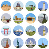 World landmarks flat icon set Stock Image