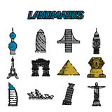 World landmarks flat icons set Royalty Free Stock Photography