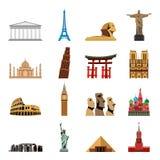 World landmarks flat icons Stock Photography