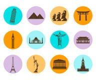 World landmarks flat icons set. Vector. Illustration Royalty Free Stock Photos