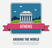 World landmarks. Greece. Travel and tourism background. Line art style. Vector Royalty Free Stock Photos