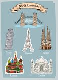 World Landmarks hand-drawn icons set. With Tower Bridge in UK  Leaning Tower of Pisa in Italy  Eiffel Tower in France  Sagrada Familia in Spain  Taj Mahal in Stock Photos