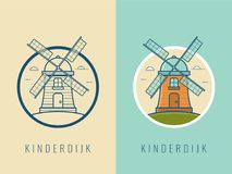 World landmarks. Holland. Travel and tourism background. Line icons. Vector Royalty Free Stock Photo