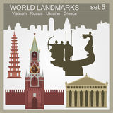 World landmarks icon set. Elements for creating infographics Royalty Free Stock Image