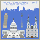 World landmarks icon set. Elements for creating infographics Royalty Free Stock Photography