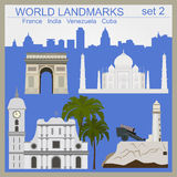 World landmarks icon set. Elements for creating infographics Royalty Free Stock Photo