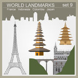 World landmarks icon set. Elements for creating infographics Royalty Free Stock Photos