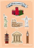 World landmarks icon set Royalty Free Stock Photos