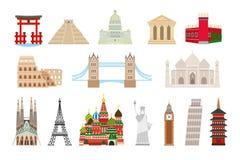 World landmarks icons in flat style Stock Photography