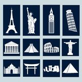 World landmarks, icons set Stock Photography