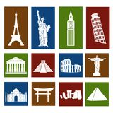 World landmarks, icons set Stock Photos
