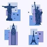 World landmarks, icons set Stock Images