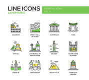 World landmarks icons set Stock Photography