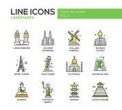 World landmarks icons set Stock Photography