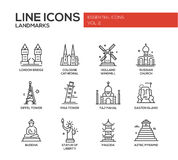 World landmarks icons set Royalty Free Stock Photos