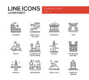 World landmarks icons set Royalty Free Stock Photo