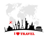 World landmarks  icons set Stock Photo