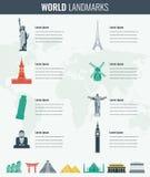 World landmarks Infographics set. Travel and Tourism concept. Vector Stock Image