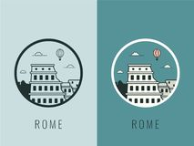 World landmarks. Italy. Travel and tourism background. Line icons. Vector Royalty Free Stock Photography