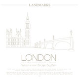 World landmarks. London. United Kingdom.Westminster Abbey, the B. Ridge, Big Ben. Graphic template. Logos and badges. Linear design. Vector illustration Royalty Free Stock Photography