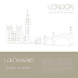 World landmarks. London. United Kingdom.Westminster Abbey, the B. Ridge, Big Ben. Graphic template. Logos and badges. Linear design. Vector illustration Royalty Free Stock Images