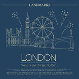 World landmarks. London. United Kingdom.Westminster Abbey, the B. Ridge, Big Ben. Graphic template. Logos and badges. Linear design. Vector illustration Stock Photos