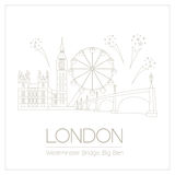 World landmarks. London. United Kingdom.Westminster Abbey, the B. Ridge, Big Ben. Graphic template. Logos and badges. Linear design. Vector illustration Stock Photo
