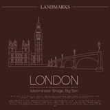 World landmarks. London. United Kingdom.Westminster Abbey, the B. Ridge, Big Ben. Graphic template. Logos and badges. Linear design. Vector illustration Royalty Free Stock Photos