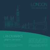 World landmarks. London. United Kingdom.Westminster Abbey. The Bridge, Big Ben. Graphic template. Logos and badges. Linear design. Vector illustration Stock Photos