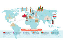 World landmarks on map Royalty Free Stock Photo