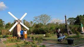 The World Landmarks Merapi Park. Yogyakarta, Indonesia - September 28, 2018: View of The World Landmarks Merapi Park in Sleman Regency. Family resort that royalty free stock photography