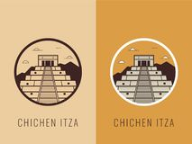 World landmarks. Mexico. Travel and tourism background. Line icons. Vector Stock Photography