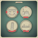 World Landmarks. Most famous Architecture Landmarks Around the World, pictured here from left to right, top to bottom: Triumphal Arch (France), Kremlin (Russia vector illustration
