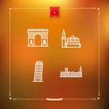 World Landmarks. Most famous Architecture Landmarks Around the World: Triumphal Arch (France), Kremlin (Russia), Leaning Tower of Pisa (Italy), House of royalty free illustration
