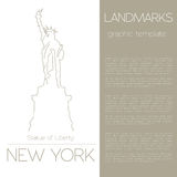 World landmarks. New York. USA. Statue of Liberty. Graphic template Royalty Free Stock Images
