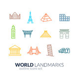 World landmarks outline icons set Stock Photography