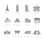 World landmarks outline icons set Stock Images