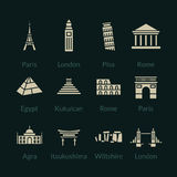 World landmarks outline icons set Stock Image