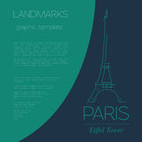 World landmarks. Paris. France. Eiffel tower. Graphic template. Stock Photo