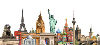 World landmarks photo collage isolated on white background, travel tourism and study around the world concept stock photos