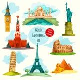 World Landmarks Set Royalty Free Stock Photography