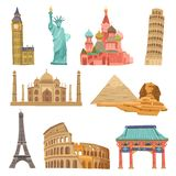 World Landmarks Set Stock Images