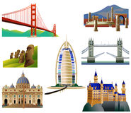 World Landmarks, set 3. Vector icons. Isolated on white Royalty Free Stock Photography