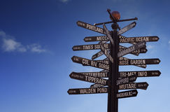 World Landmarks Signpost with blue sky and free copy space. World Landmarks Signpost with many different signs and blue sky with free copy space for your text stock photo